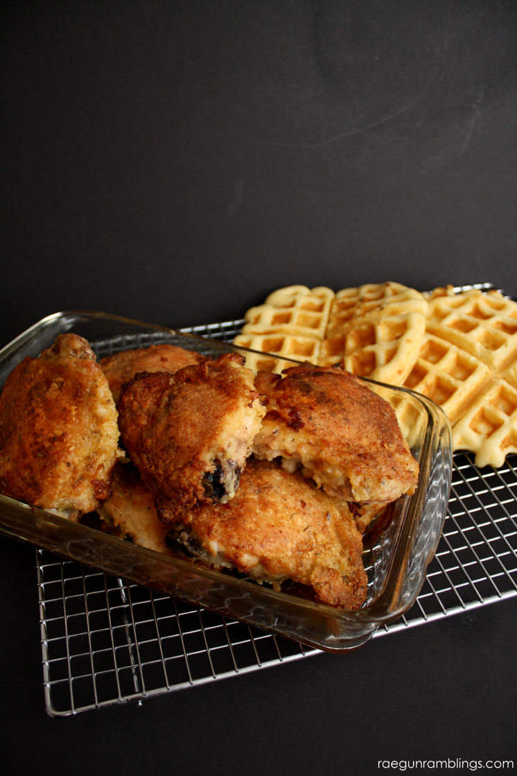 Chicken and Waffles. This is the best buttermilk waffle recipe.