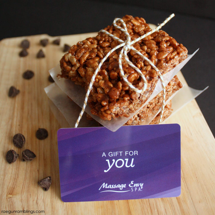Great last minute gift idea massage gift card plus yummy cookie butter treats
