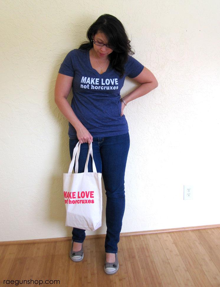 Awesome Harry potter shirt and book bag. Make Love not horcruxes at raegunshop.com
