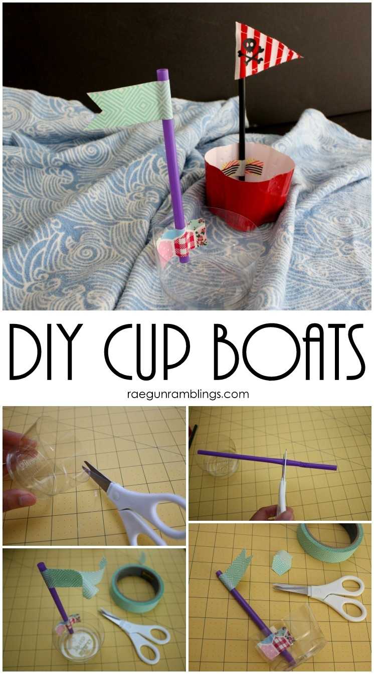Every day home items turned into cute kid craft boats
