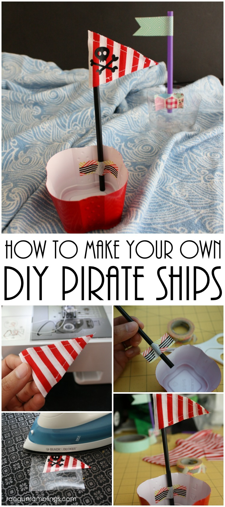 super cute pirate ships made from plastic cups. Great summer craft for the kids