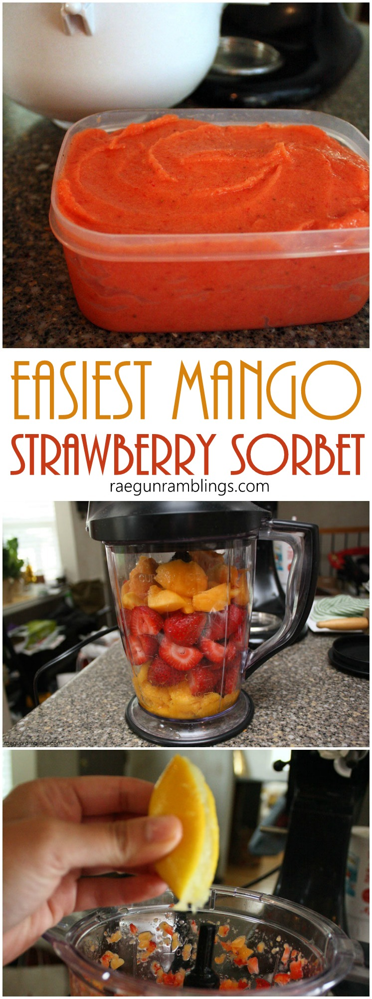 This Mango strawberry sorbet SO good. I've made it the last two weekends. Great for when you want a healthy alternative to ice cream via @raegun