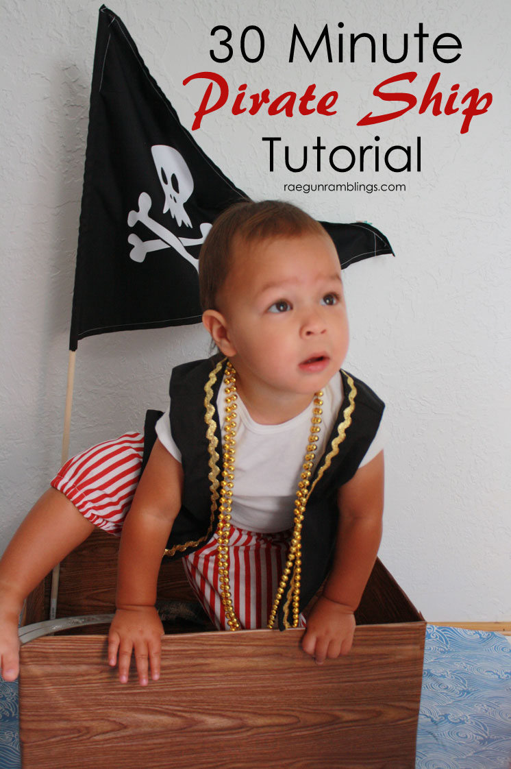 This little pirate ship is so easy and cute made from stuff you have on hand! Great for pirate parties or just toddler play