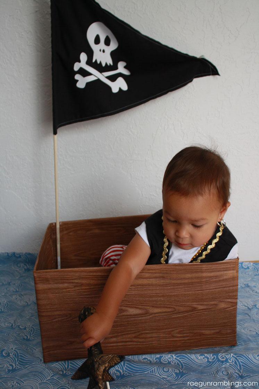 Such a fun idea. Turn a diaper box into an easy pirate ship. DIY tutorial.
