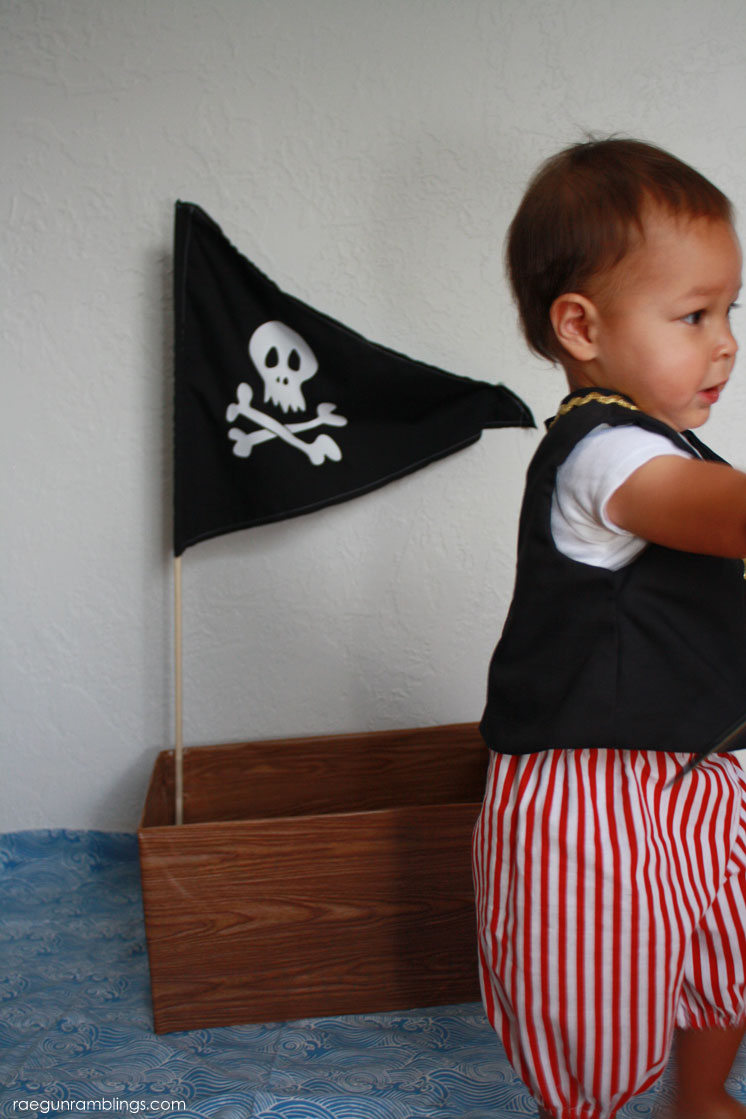 Adorable DIY pirate ship made from a diaper box