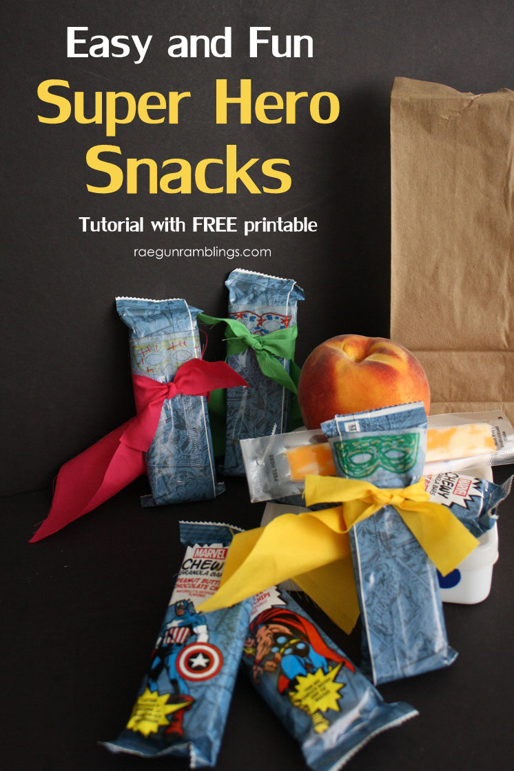 Cute and easy Super Hero snack. Fun activity for school lunches with free printable