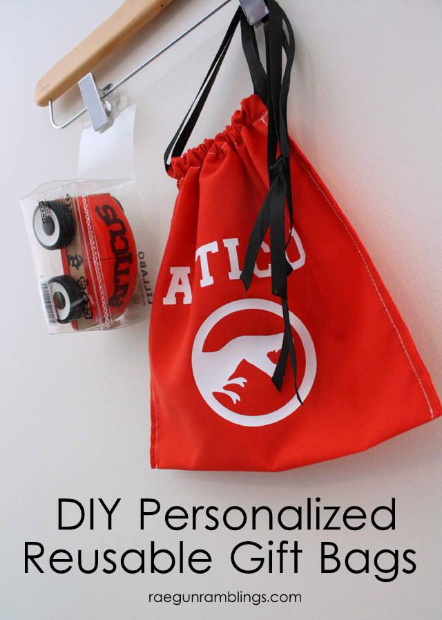 Super fast DIY personalized reusable gift bag tutorial