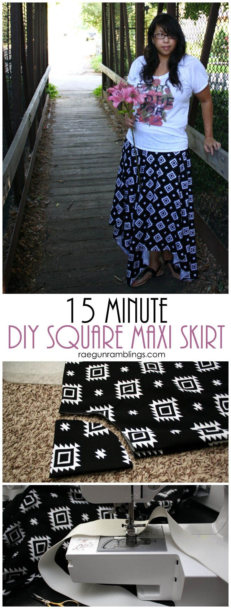 How to sew a square skirt in just 15 minutes. Easy sewing tutorial.