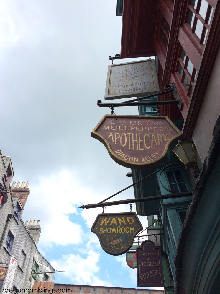 Wizard SHop signs plus lots and lots of pictures of vacation at universal studios Wizarding WOrld of Harry POtter