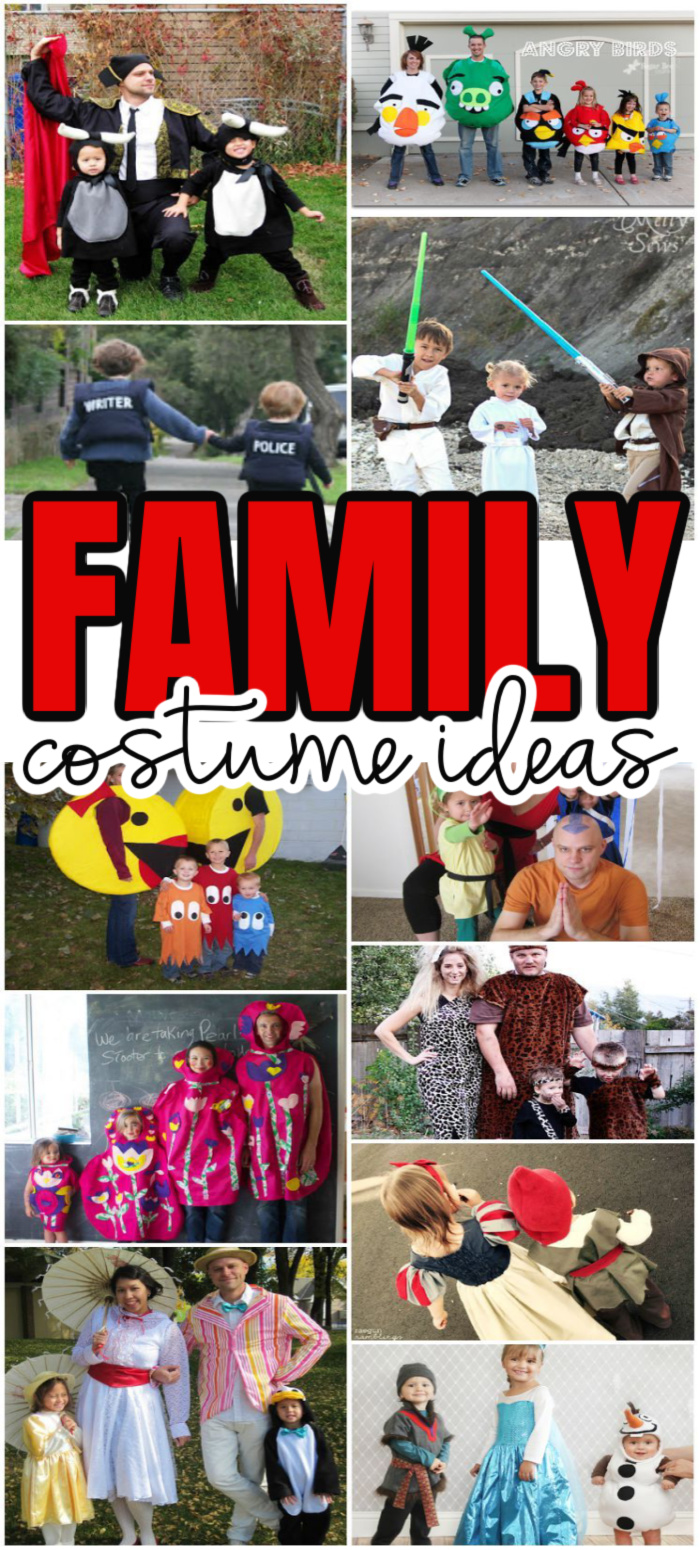collage of families dressed up in costumes