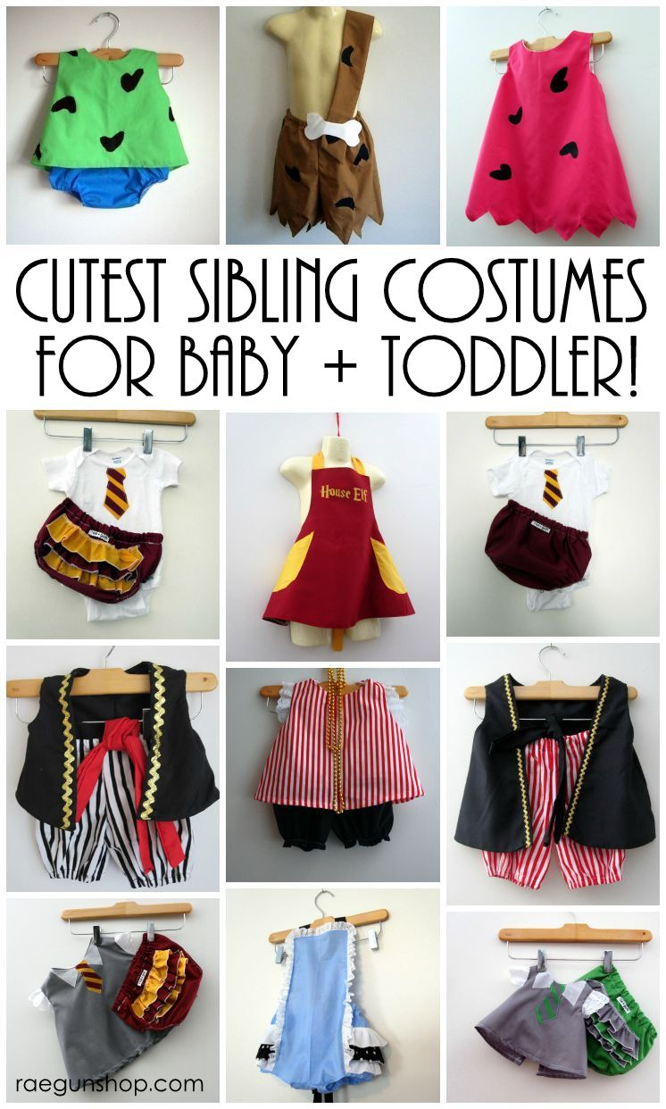 Lots of fun idea of sibling Halloween costumes. Good options for twins, two, three and more kids