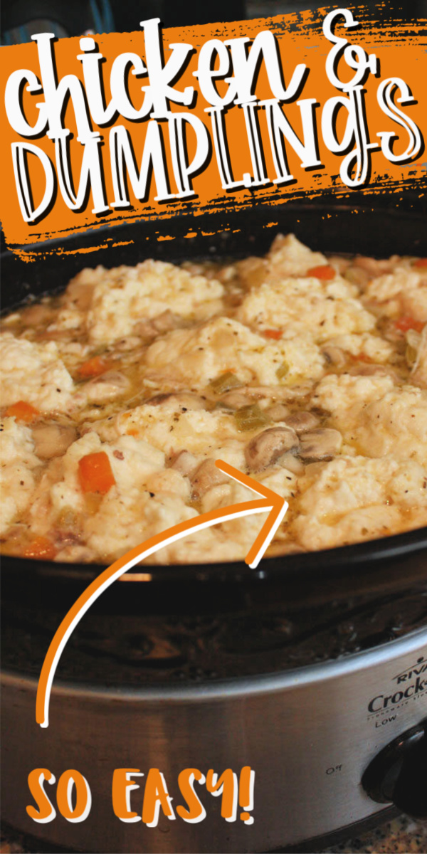 The BEST Chicken and Dumplings recipe for the slow cooker or crock pot. SO SO good and easy. Perfect for weeknight dinners