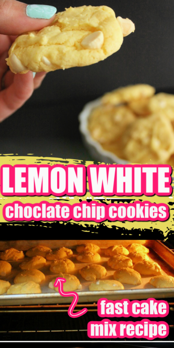 Our new favorite Lemon White Chocolate chip cookies made from a cake mix. Such an easy dessert recipe.