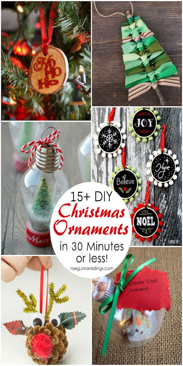 collage of many diy christmas ornaments