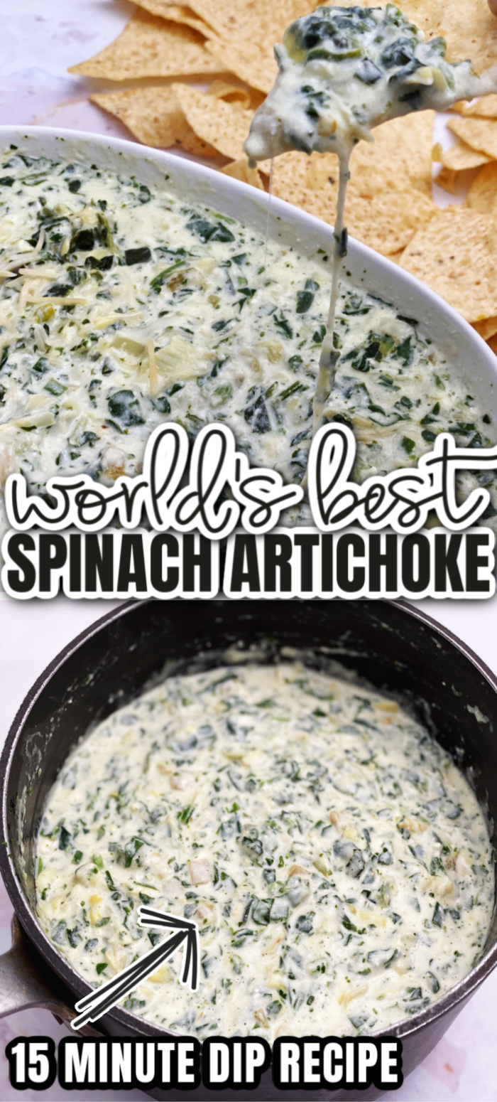 Best spinach artichoke dip recipe. Great potluck and party appetizer crock pot and stove directions.