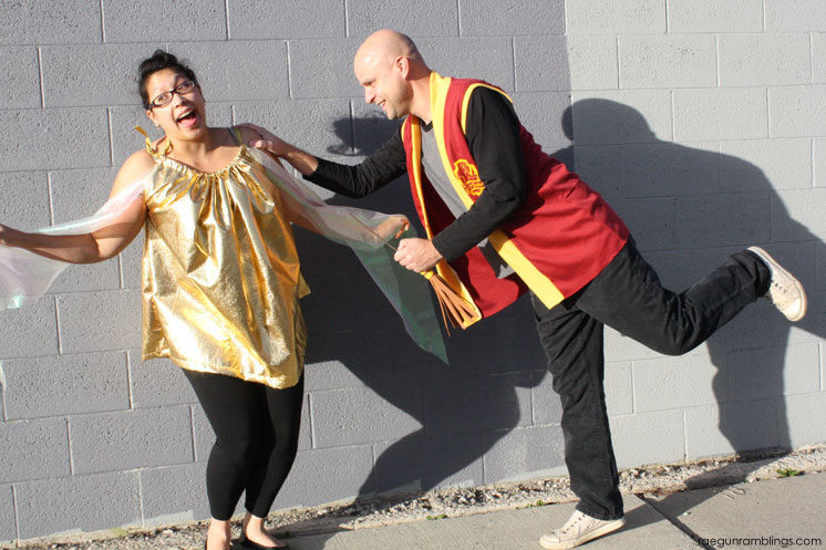 Love this! Adorable Harry Potter couple costume (works for pregnant costume too). Golden Snitch and quidditch player costume tutorial
