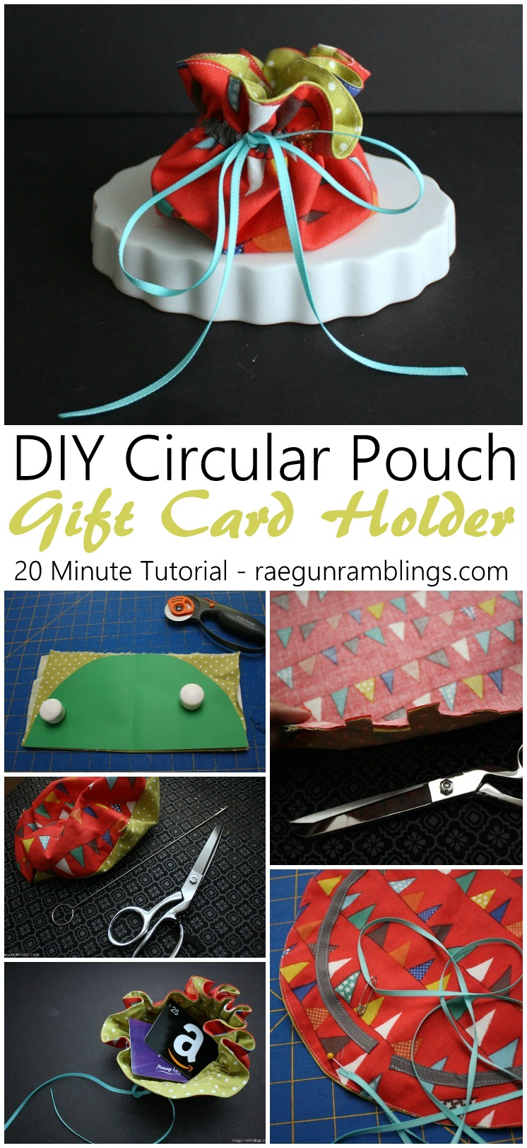 How to make a circular pouch in just 20 minutes. great easy sewing diy project perfect for gift card holders for CHristmas