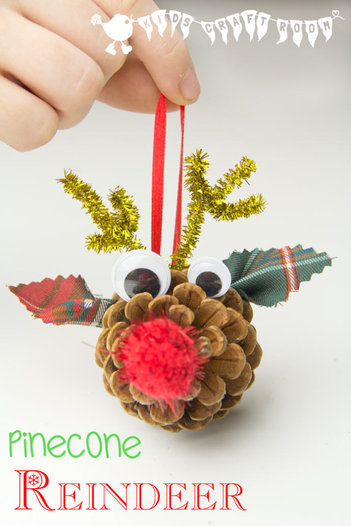 super cute DIY Rudolf reindeer pinecone ornament