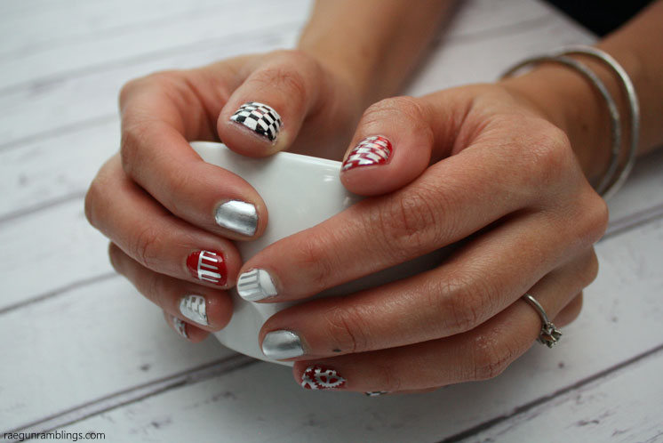 So awesome Grease nails. Manicure inspired by Grease Lightning. With tutorial