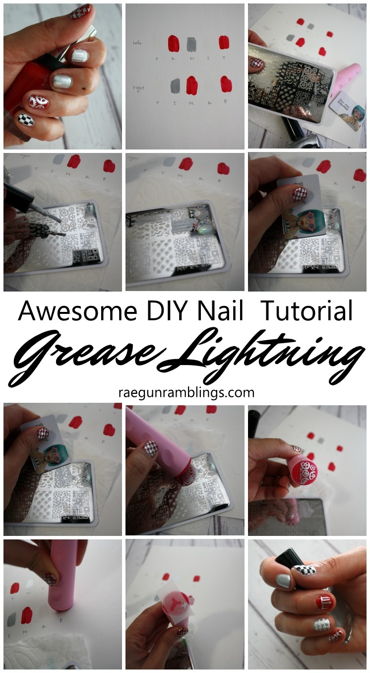 Step by step instructions for how to stamp nails. Plus the cutest grease lightning inspired manicure