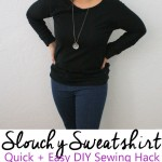 great diy slouchy sweatshirt sewing hack