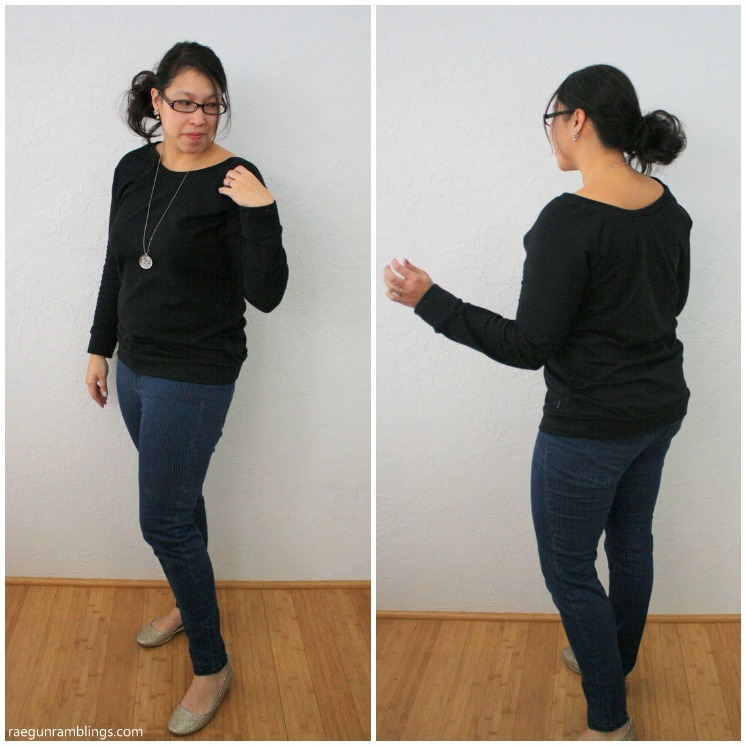 Basic raglan pattern hacked into a slouchy sweatshirt