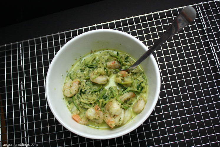 20 minute light and healthy creamy pesto shrimp zucchini noodles AKA zoodles recipe