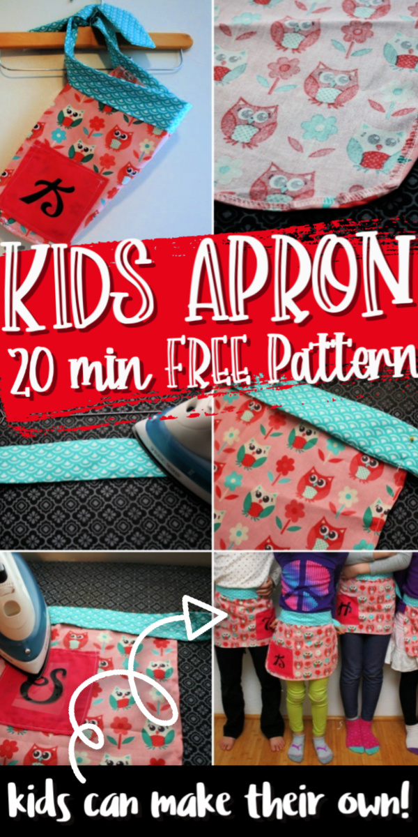 20 minute kids apron tutorial free sewing pattern via @raegun
