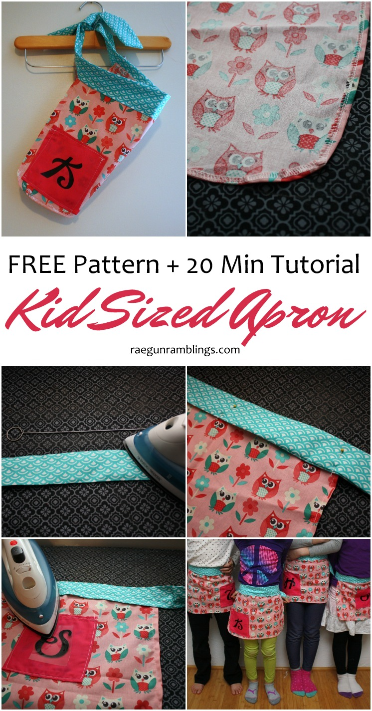 Super fast and easy kid sized apron pattern and sewing tutorial