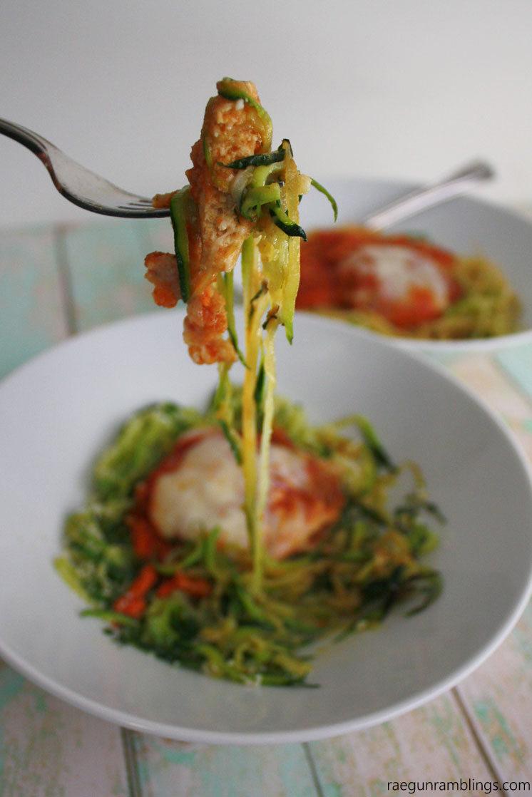 Delicious but light low calorie chicken parmesan. Great Parmesan zoodle zucchini noodle recipe