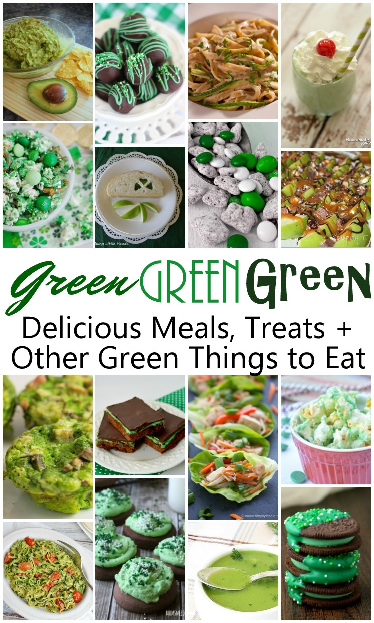 Tons of great recipes for Green Food perfect for St. Patrick's Day. Many are dye free and family friendly.