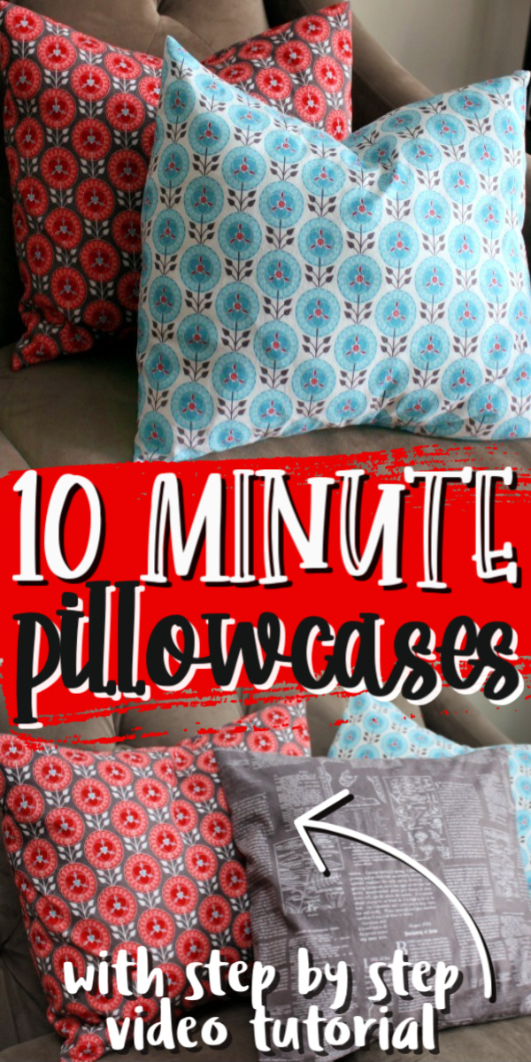 10 minute pillow case sewing tutorial super easy and great for using for holiday decor.