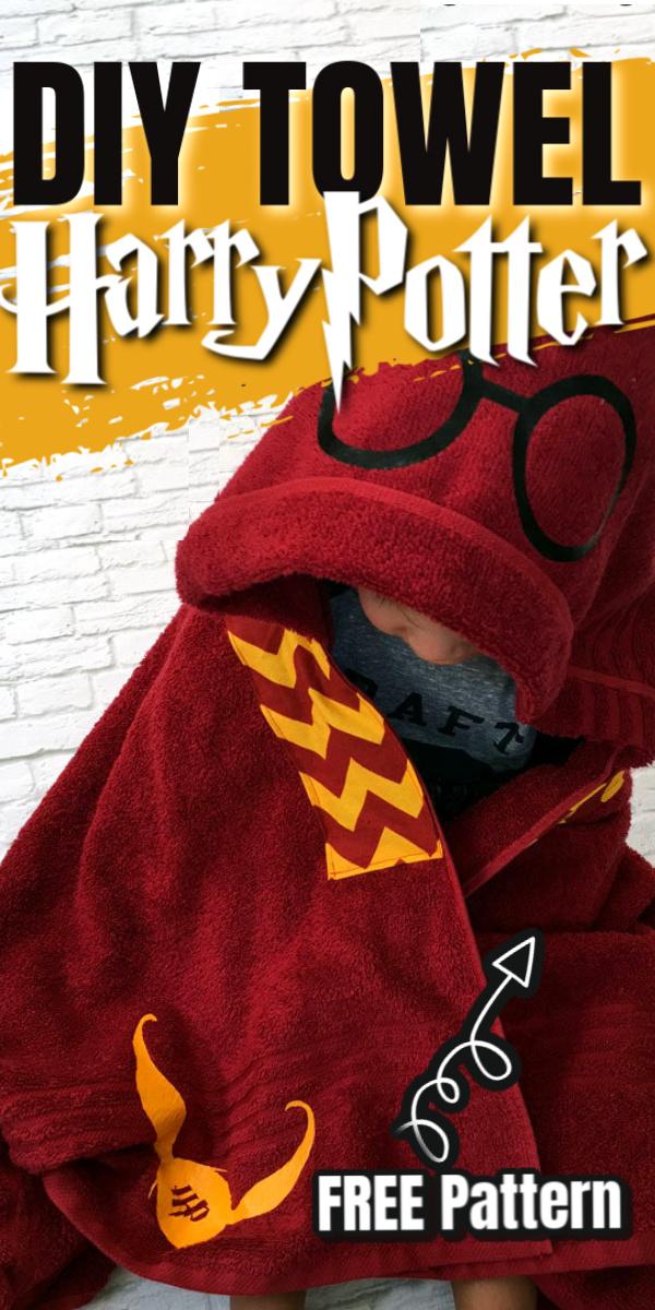 How to make a DIY Harry Potter hooded towel. Easy free tutorial. via @raegun