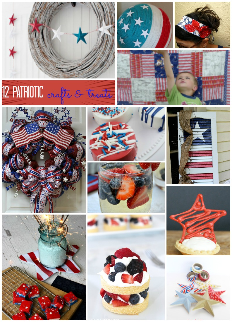 12 Patriotic Crafts and Recipes. Great for fourth of july parties, memorial day and more