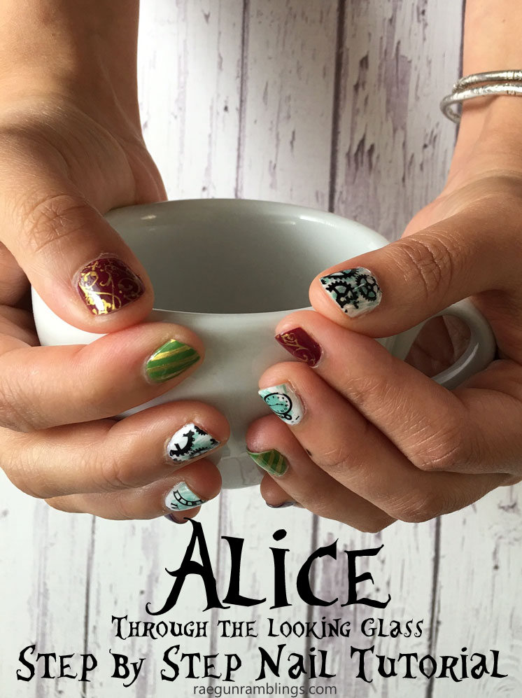 Obsessed with these great Alice through the looking glass inspired nails. Fabulous nail stamping art tutorial and detailed supply list and instructions.