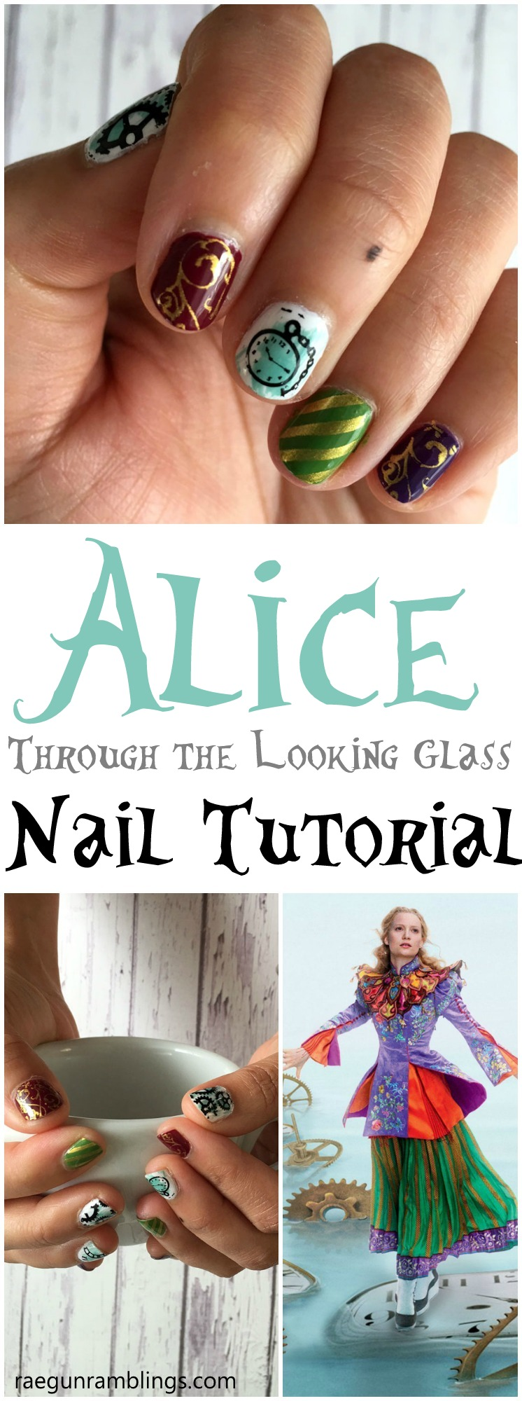 Must see these amazing Alice Through the Looking Glass nails. Simple step by step tutorial and full supply list great nail stamping art.
