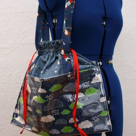 DIY vinyl bottom tote bag and how to sew on vinyl tutorial