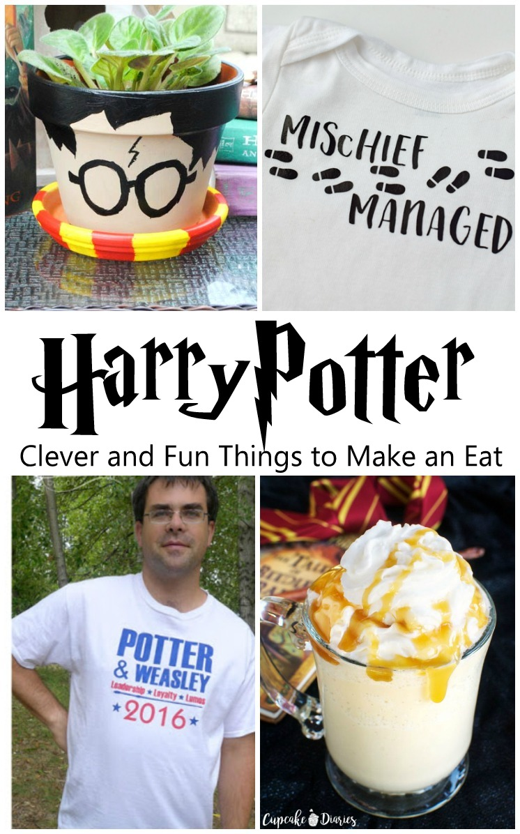 Awesome DIY Harry Potter ides, Potter flower pot, shirts, and butter beer freeze recipe