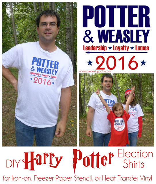 Potter Weasley election shirts with free template and tutorial. What a fun Harry Potter craft!