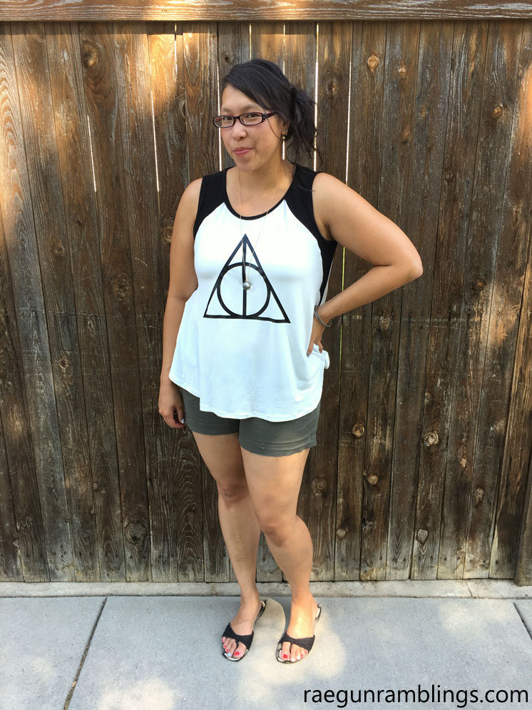 Deathly Hallows tank top. Santa Fe sewing pattern review. DIY shirt