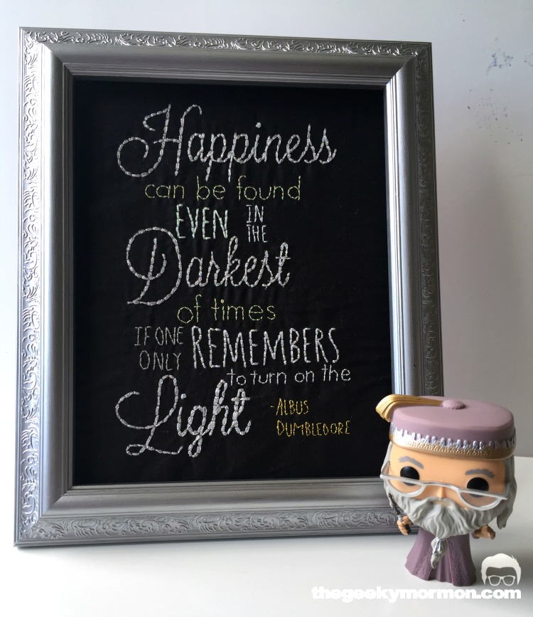 Dumbledore Happiness Quote Embroidery pattern. Such a fun DIY Harry Potter sewing tutorial