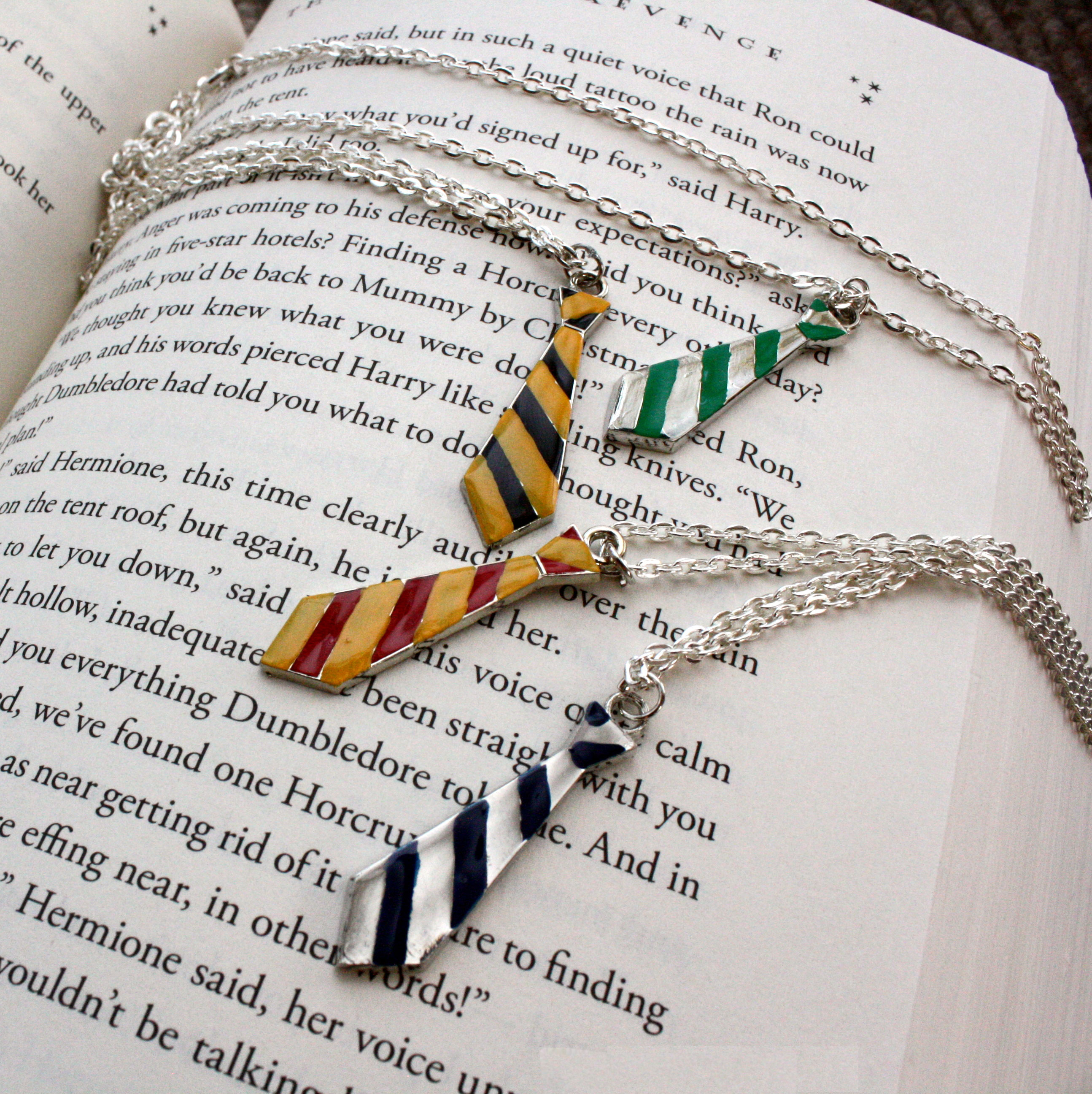 Subtle and cute Hogwarts house neck tie necklaces