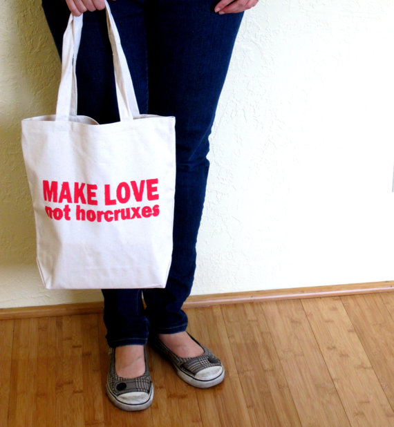make love not horcruxes book bag great harry potter gift
