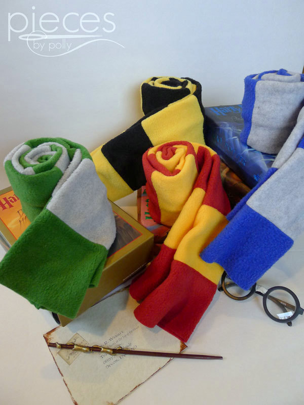 Love these fabulous fleece Harry Potter inspired Hogwarts House scarves