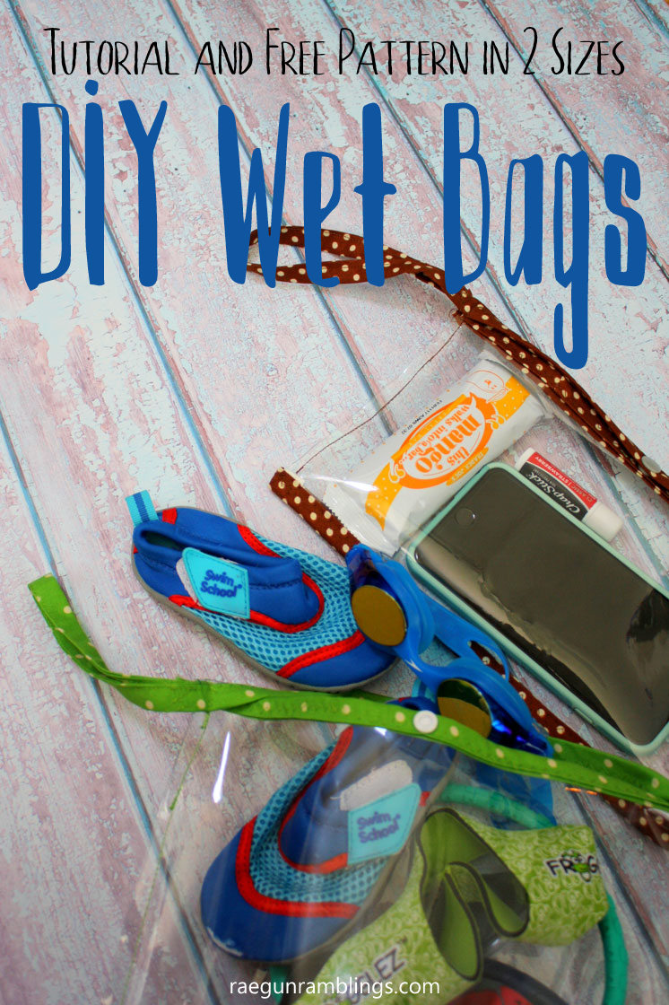 How to sew clear vinyl wet bags. Free pattern for clutch size and pool bag size. Great sewing tutorial.