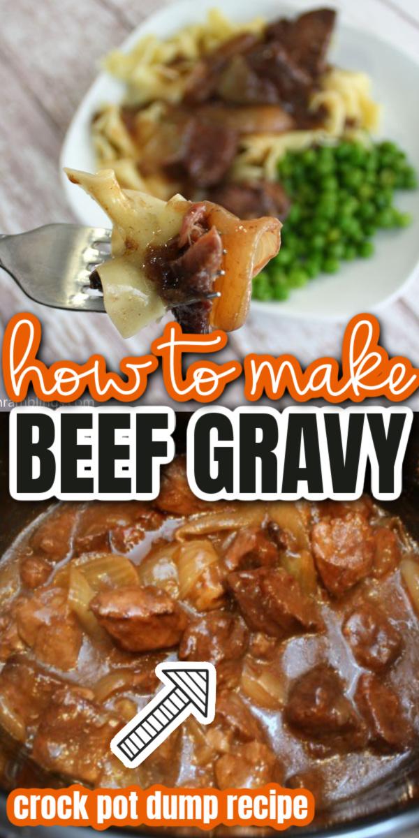 BEST crock pot beef gravy recipe. Super easy set it and forget it dinner great on pasta or potatoes. via @raegun