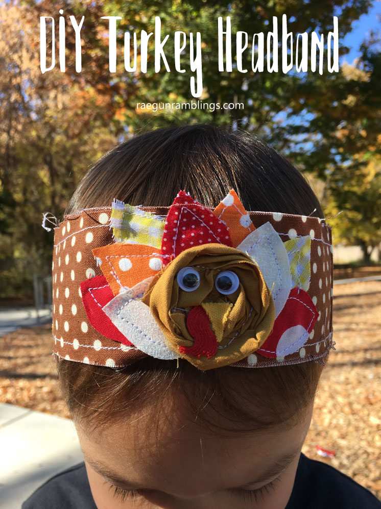 DIY turkey headband tutorial. Great sewing free pattern perfect for Thanksgiving