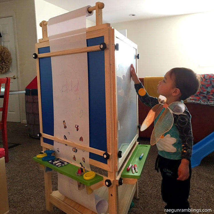 Awesome three sided art center for kids. Adjustable tri-side from Little Partners. Toddler gift guide