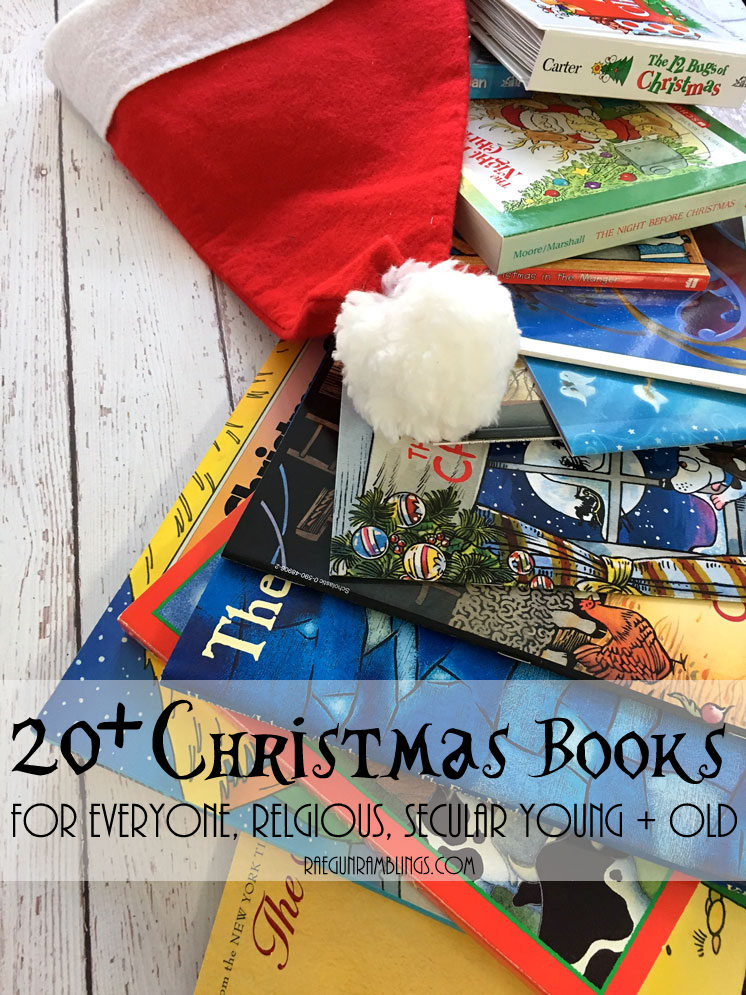 Great Christmas reading list. Board books and picture books as well as novels. Religious and santa and snowmen stories for kids to adults