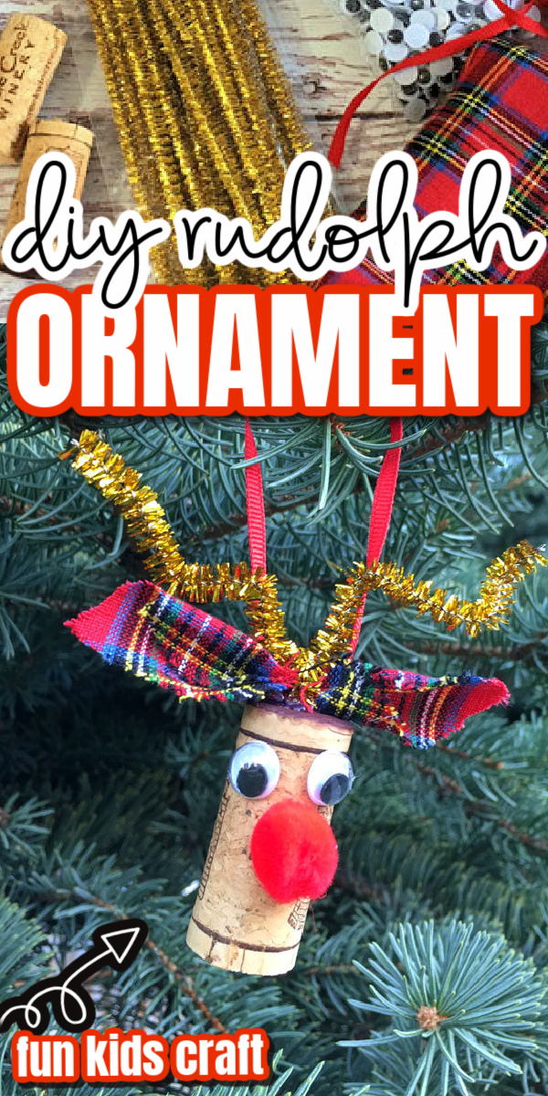Turn basic crafting scraps and a leftover wine cork into a darling Rudolph the red nose reindeer christmas ornament. Such a simple ideas easy enough for a kids activity. via @raegun